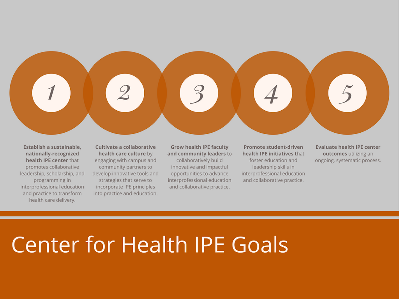 Goals: Establish a sustainable IPE center; cultivate a collaborative health care culture; grow IPE faculty and community leaders; promote student-driven health IPE programs; evaluate health IPE center outcomes